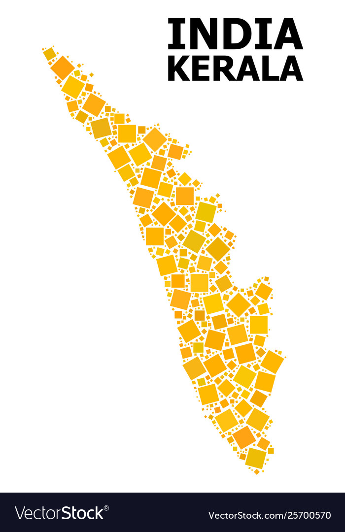 Golden rotated square mosaic map kerala state