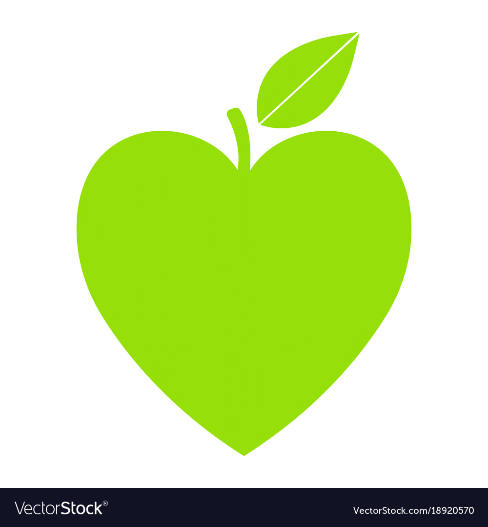 Green icon with heart shape and leaf can