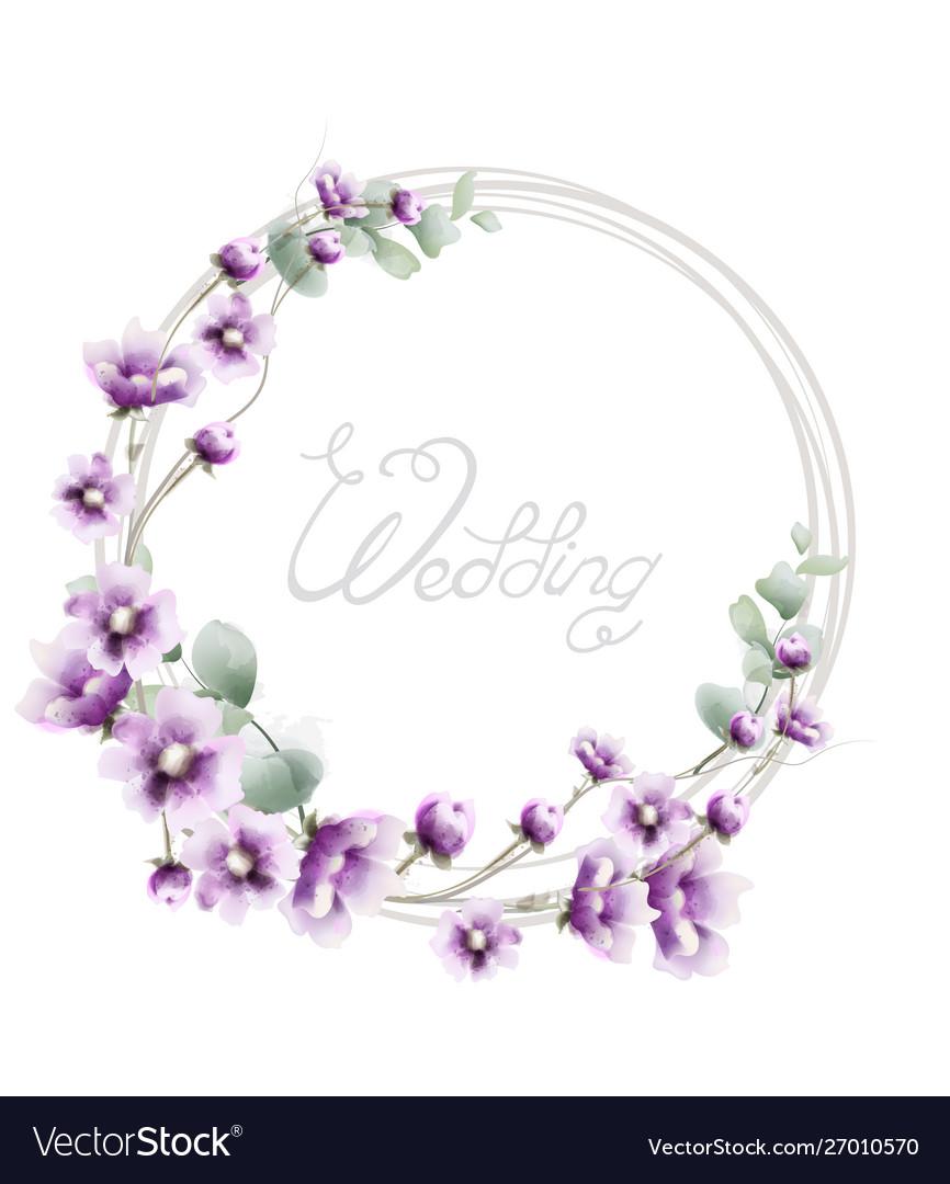 Lavender wreath wedding frame watercolor floral