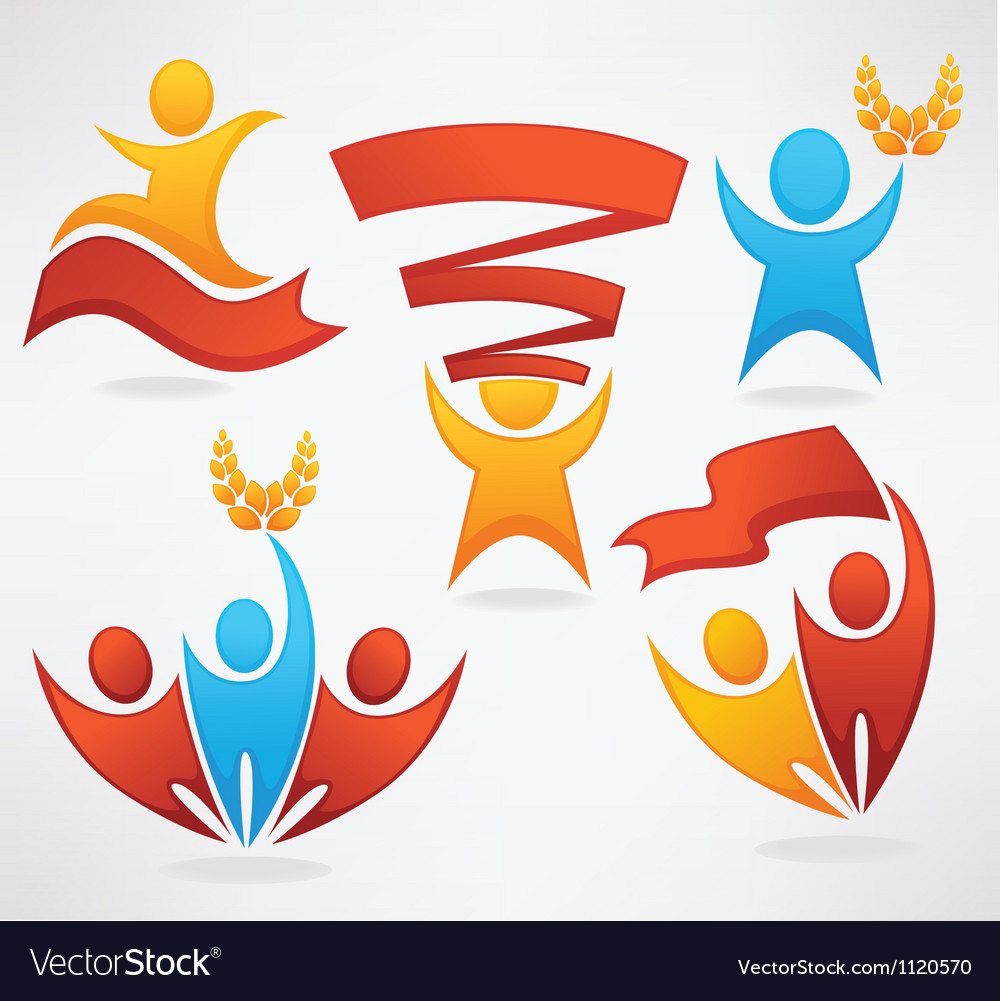 People and flags victory and leadership vector image