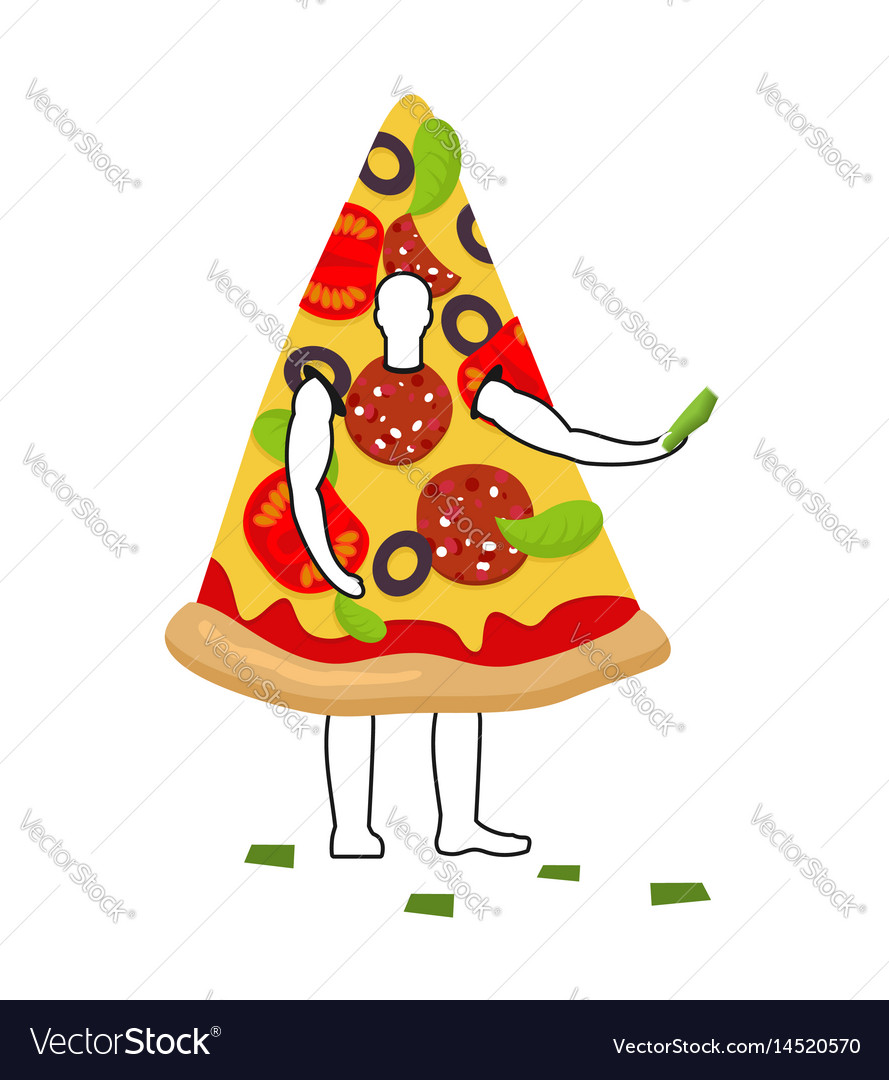 Pizza man mascot promoter male in suit slice