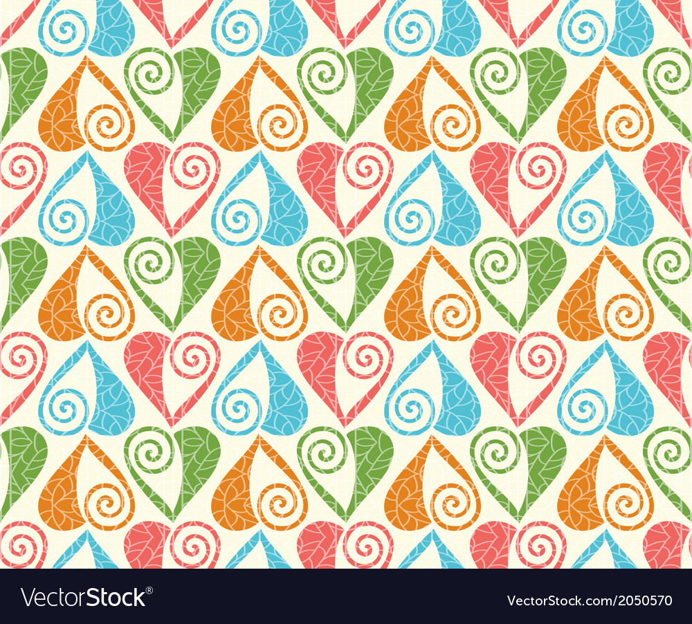Seamless pattern with stylized linear hearts of