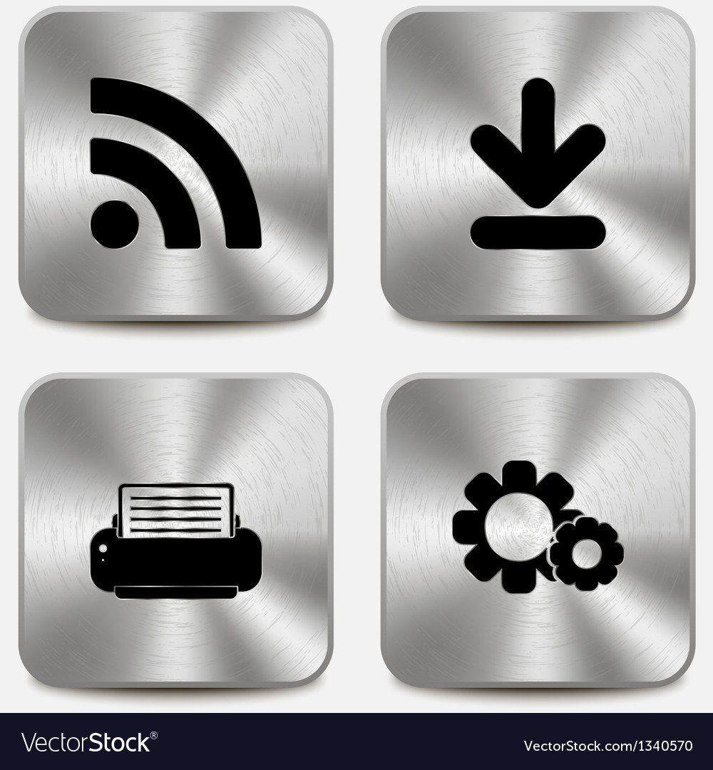 Set of web icons on metallic buttons vol4
