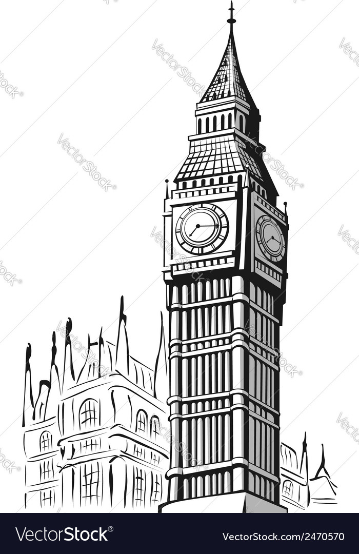sketch of big ben london royalty free vector image rh vectorstock com big ben vector eps big ben vector png