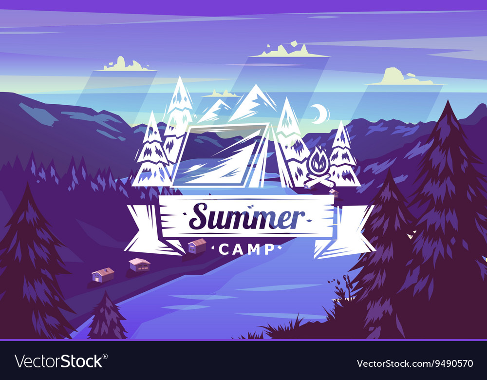 Summer camp typography design on background