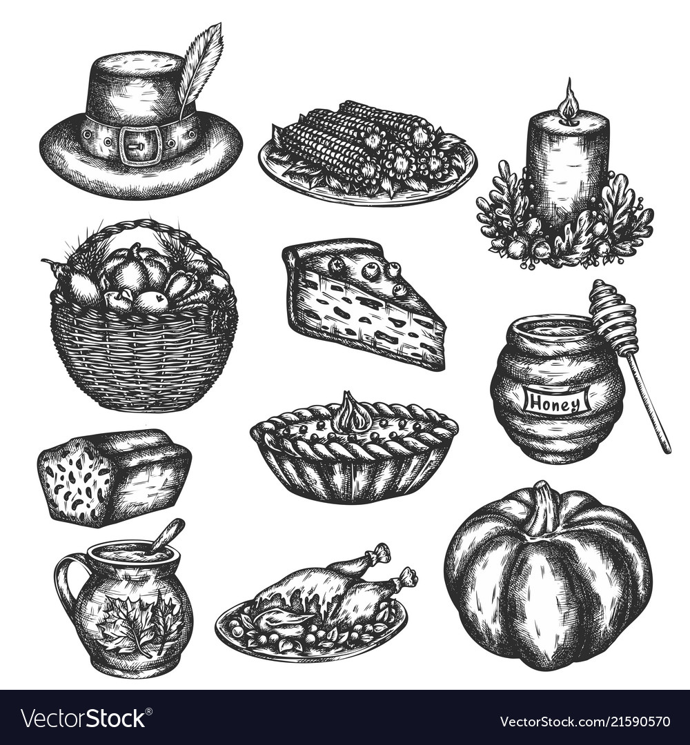 Thanksgiving doodles set symbols - turkey