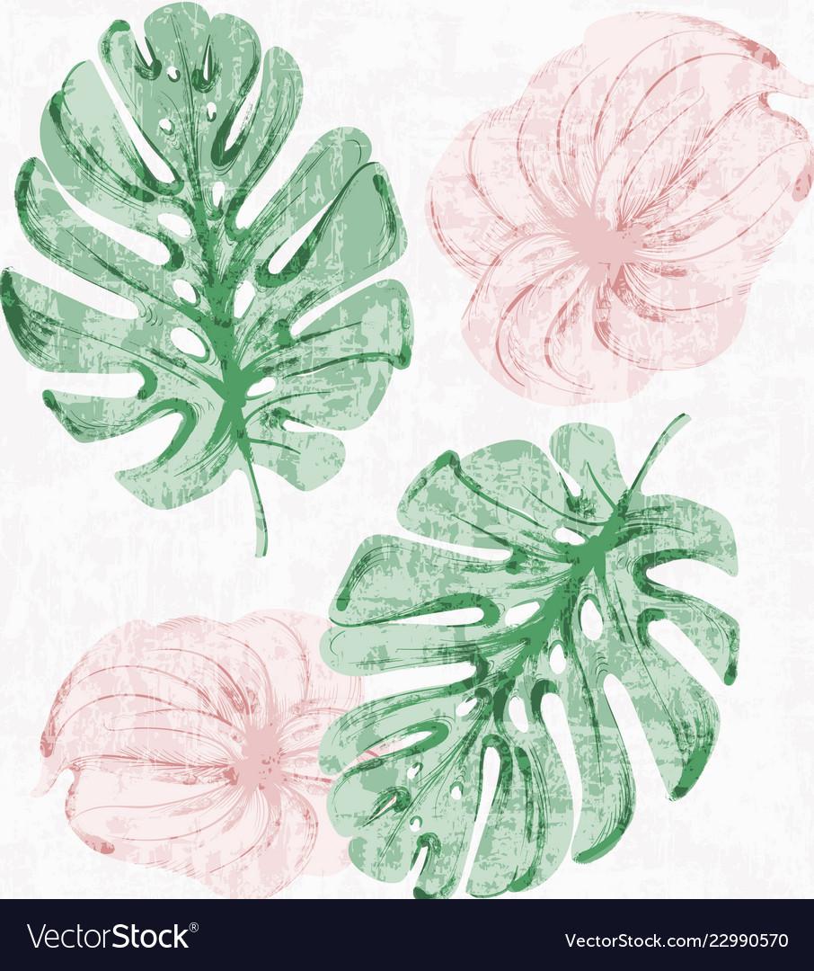 Vintage tropic leaves watercolor exotic