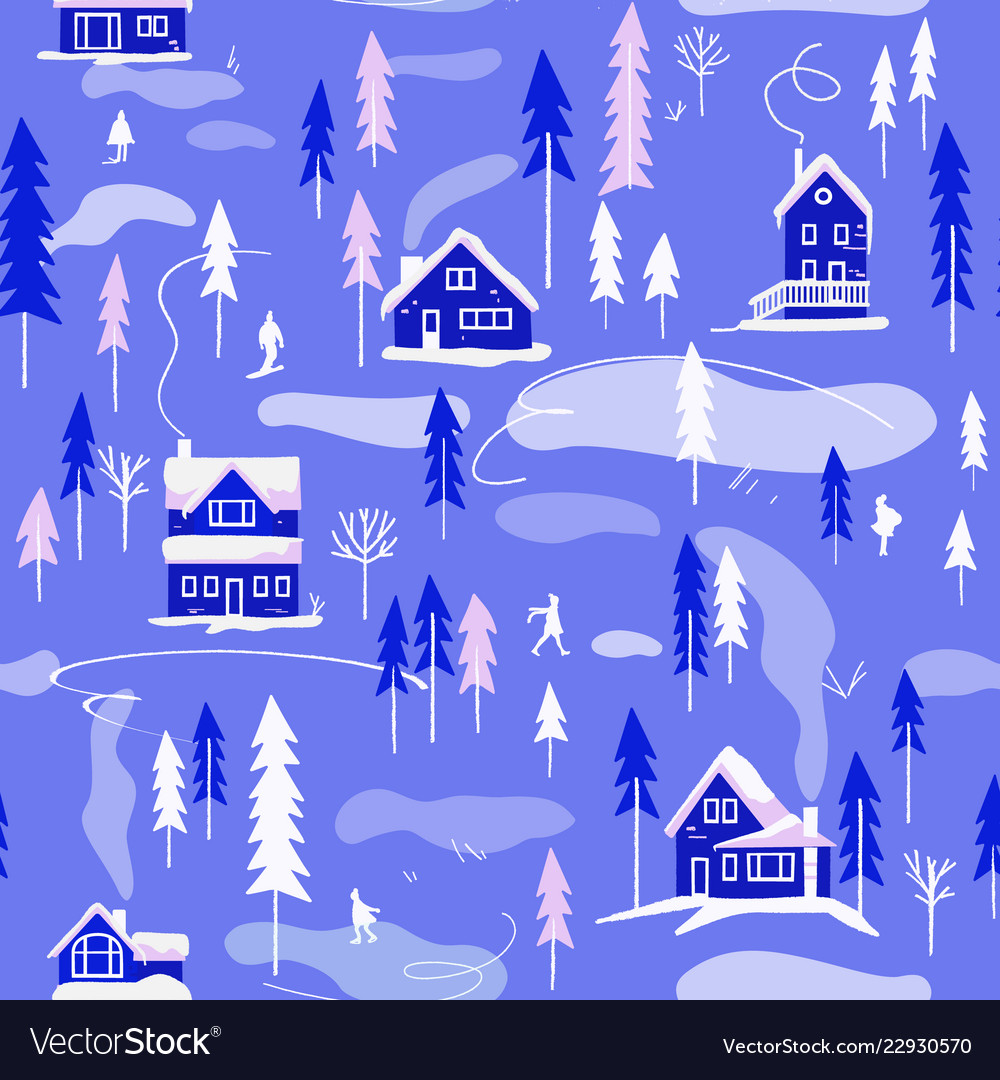 Winter village landscape seamless pattern