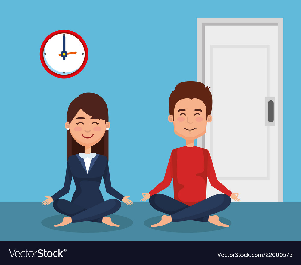Business couple practicing yoga