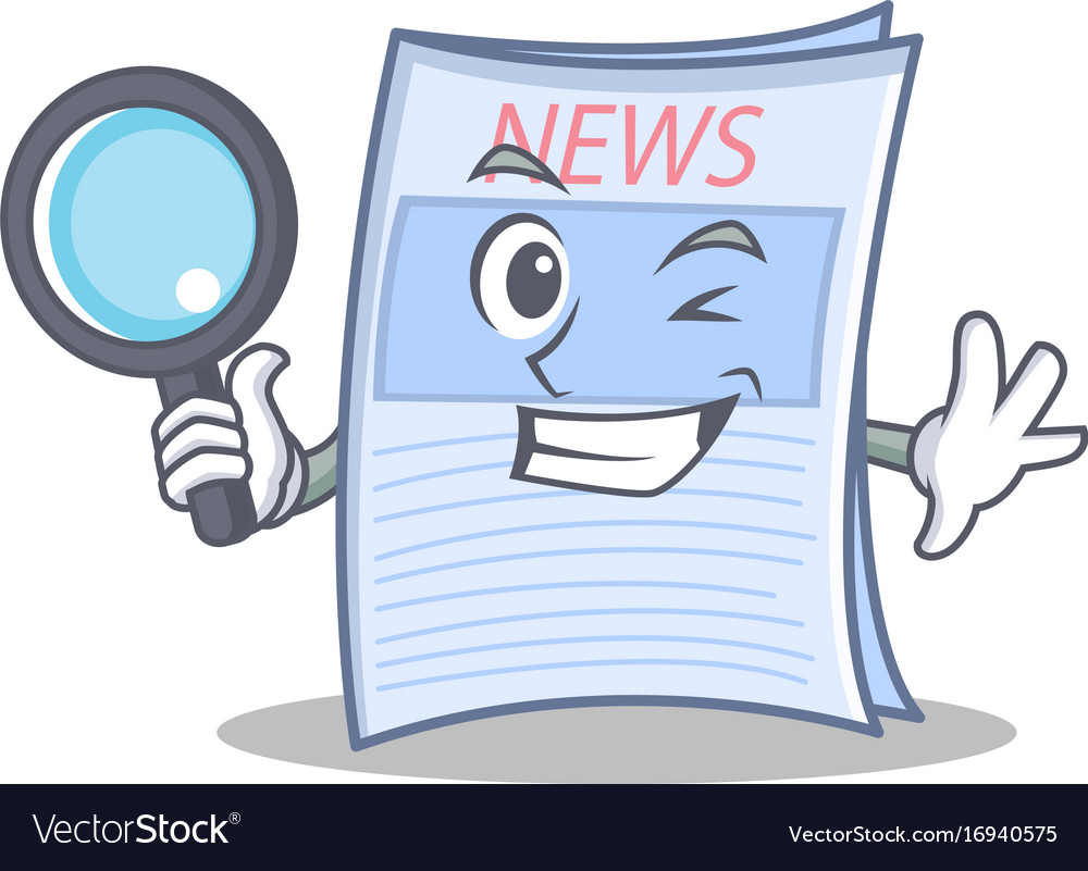 Detective newspaper character cartoon style