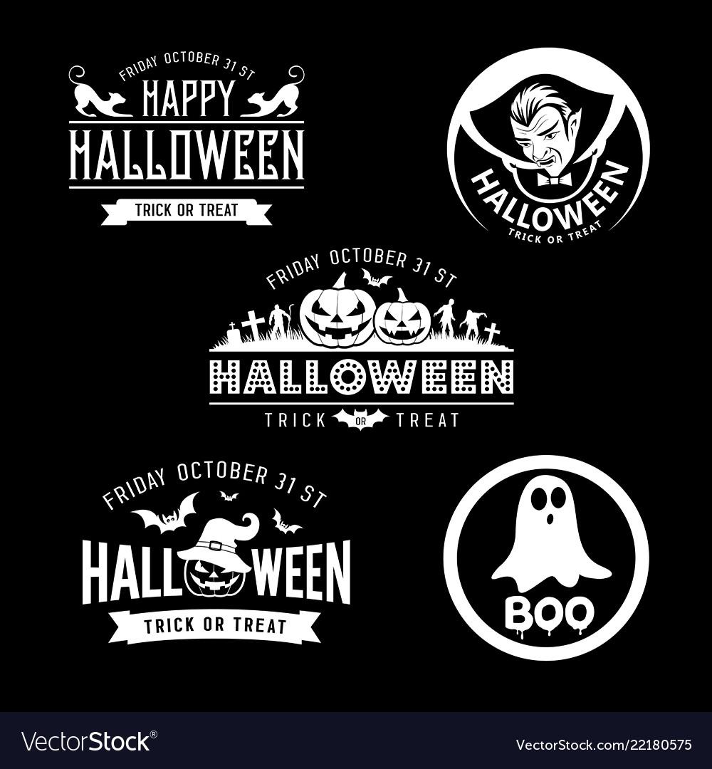Happy halloween black and white design set