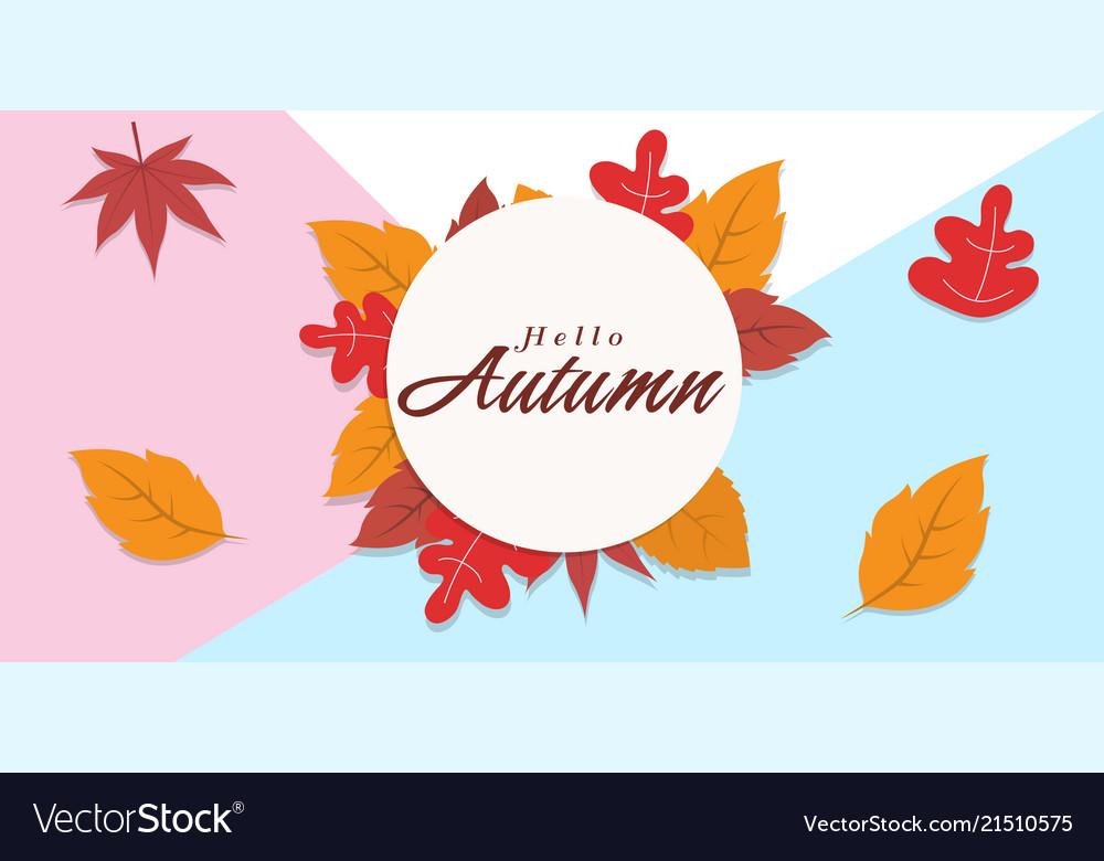 Hello autumn falling leaves circle frame backgroun