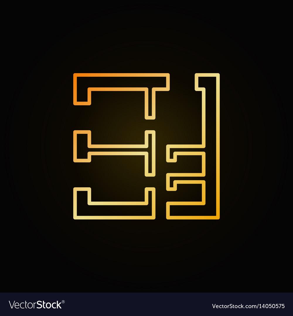 House plan golden icon vector image