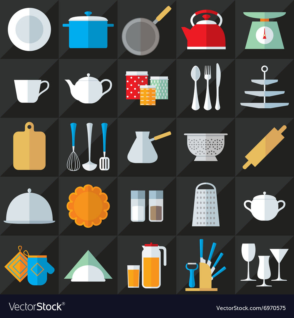 Kitchenware flat icons set vector image