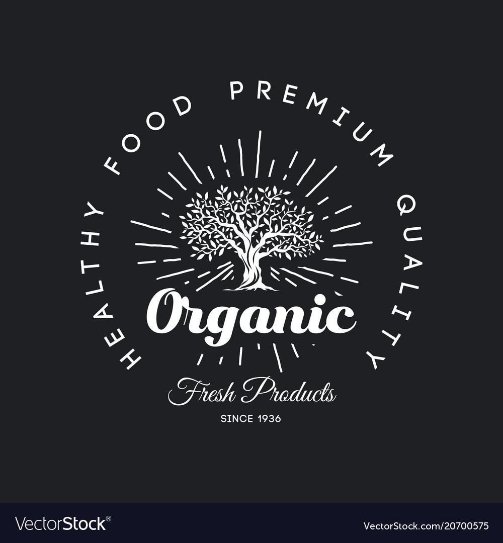 Organic natural and healthy farm fresh food retro