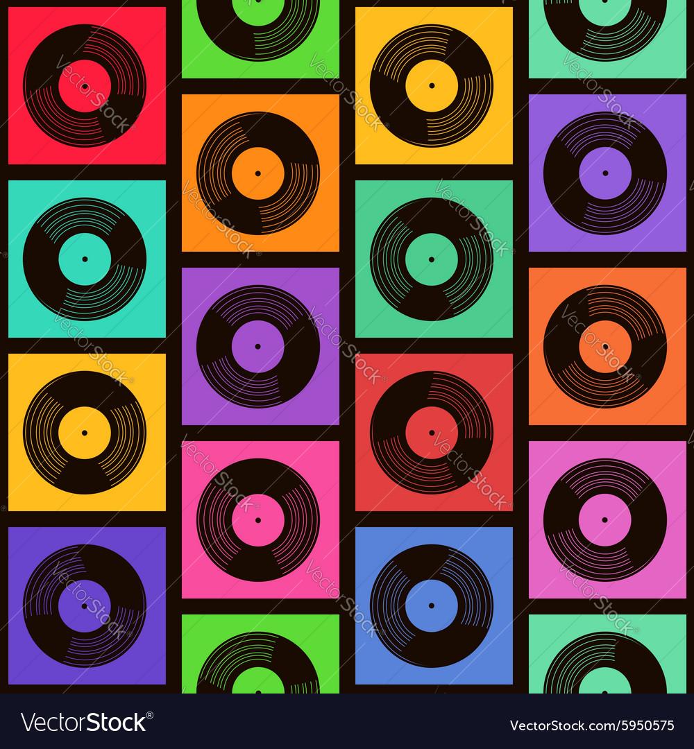Seamless pattern of vinyl records