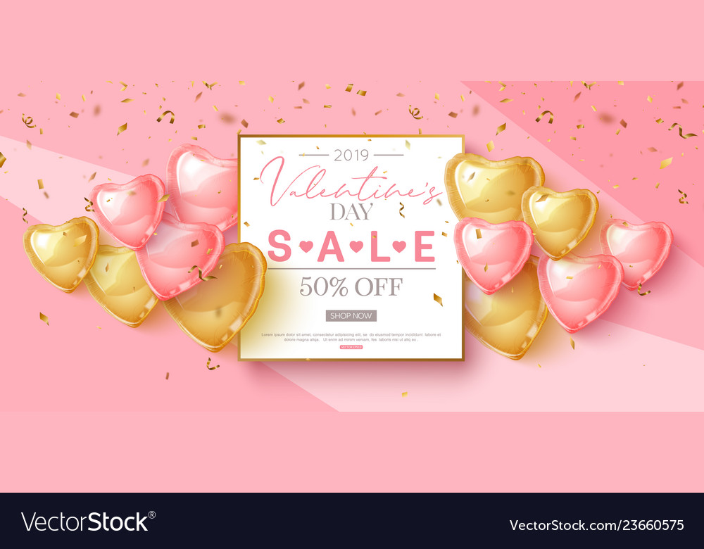 Valentines day sale design with pink and gold