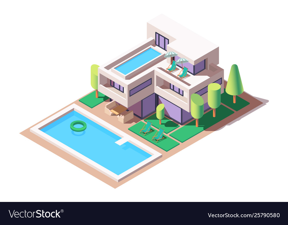 3d isometric big house with modern design and pool