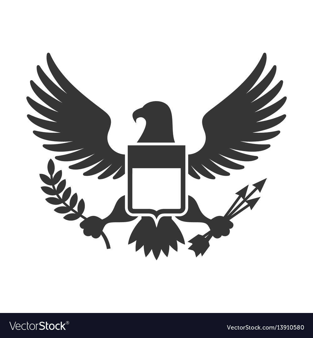 American presidential symbol eagle with shield