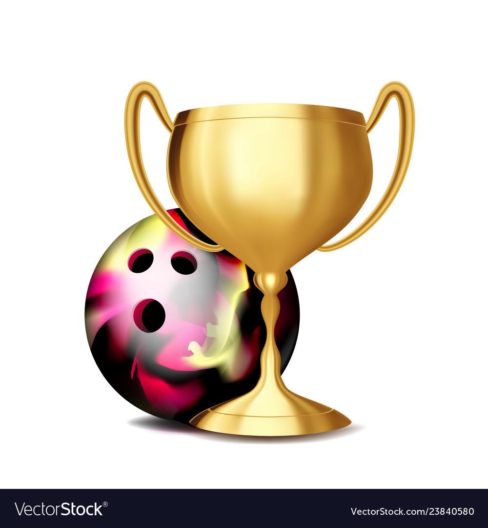 Bowling award bowling ball golden cup