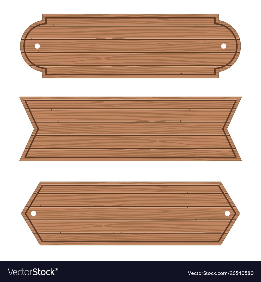 Cartoon wood banners wooden planks set