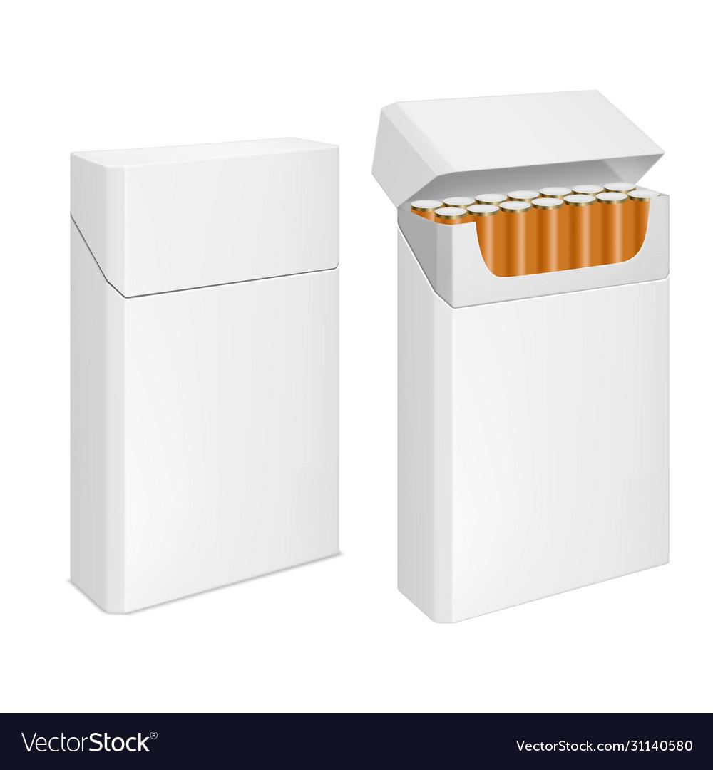 Cigarettes pack realistic blank white box mockup