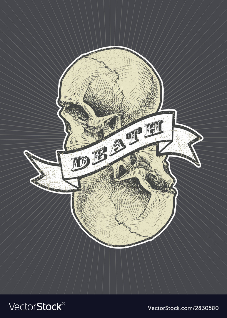 Death sign with ribbon and skull eps8