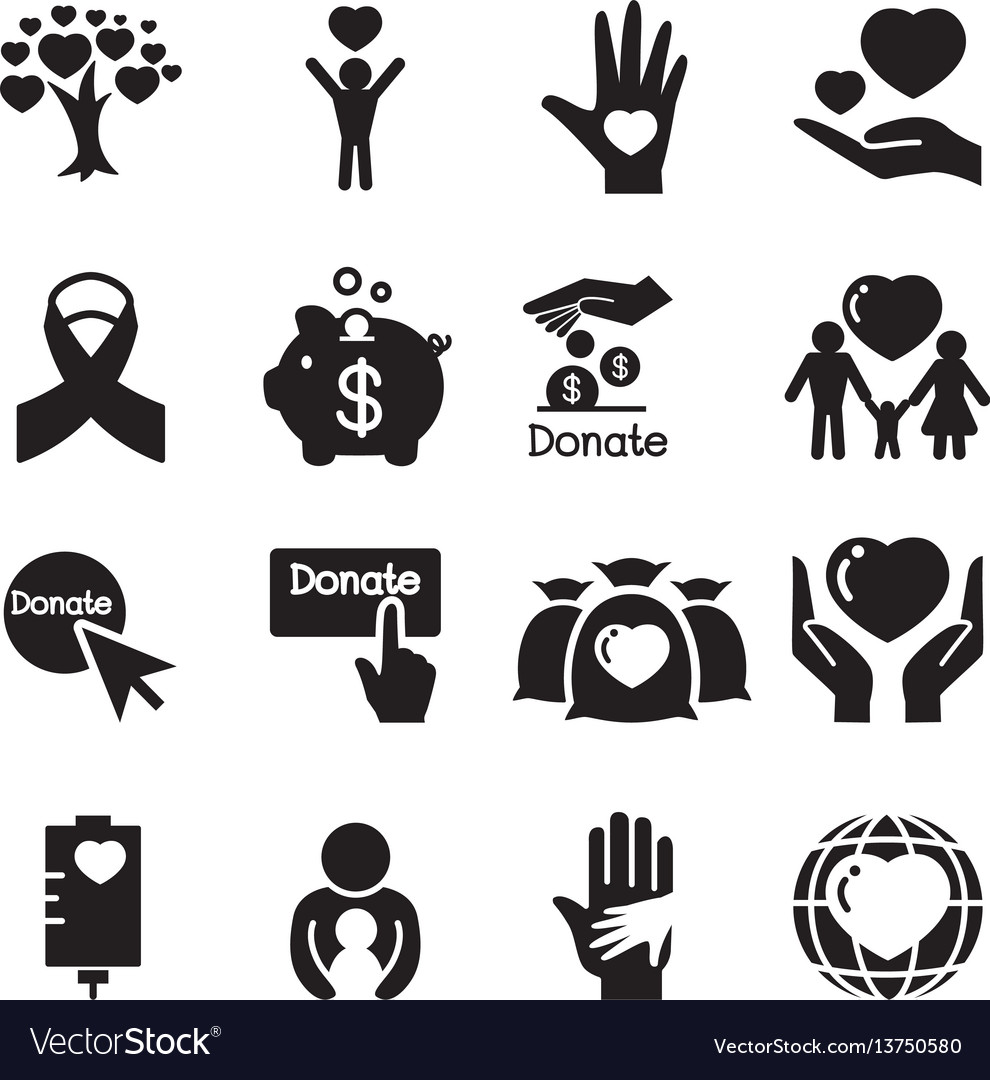 Donation giving icons set