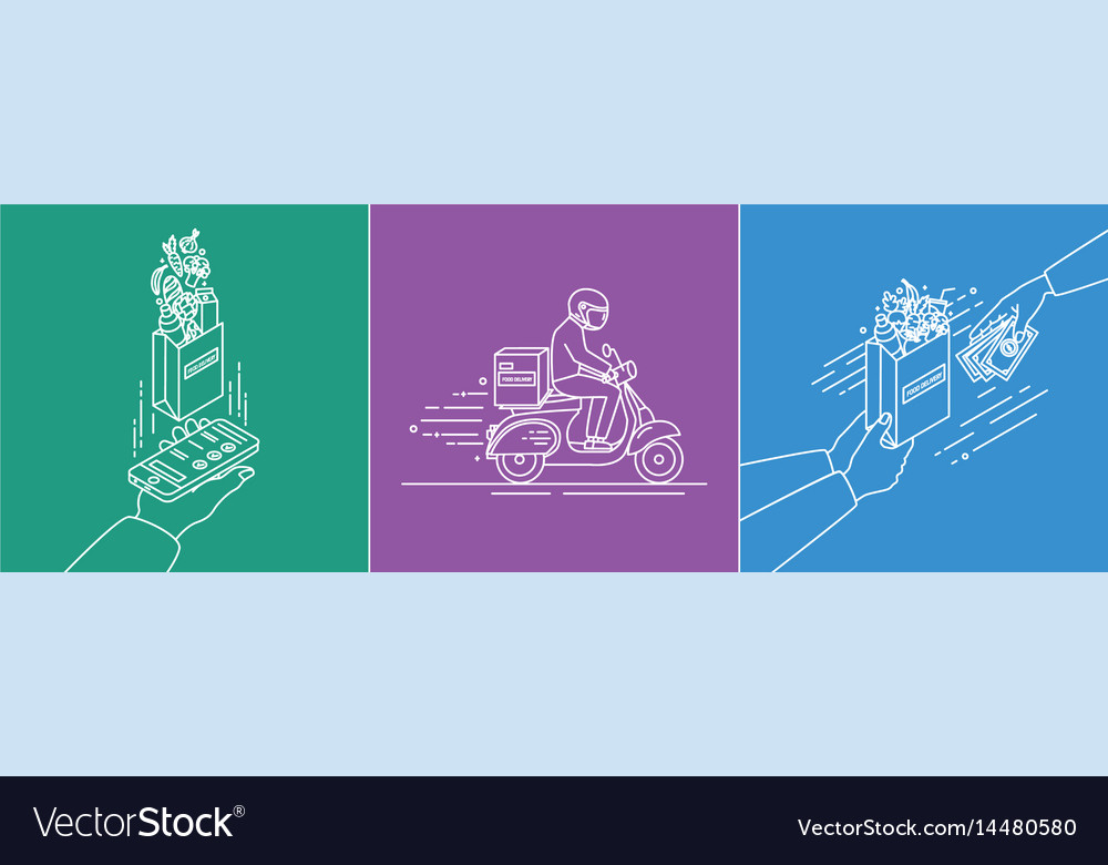 Food delivery concept lineart set in