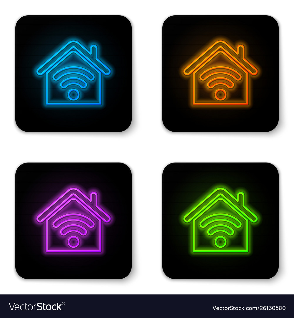 Glowing neon smart home with wi-fi icon isolated