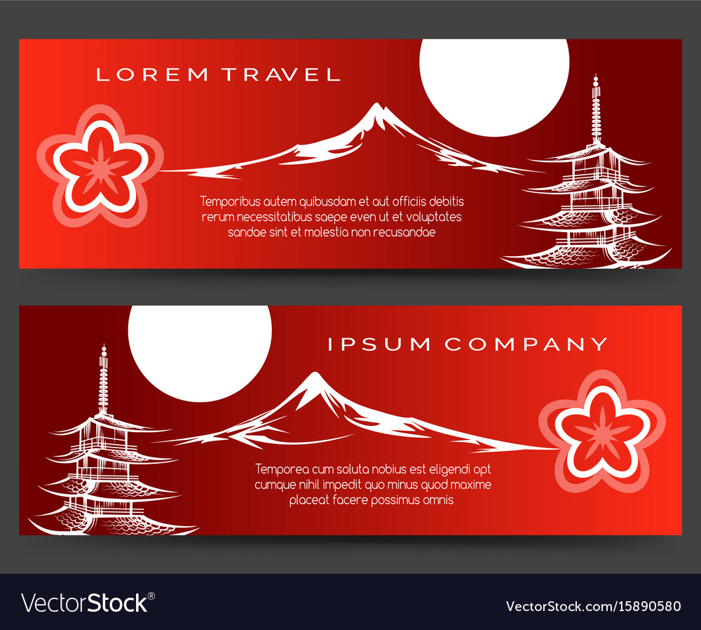 Japan pagoda and fuji mount banners