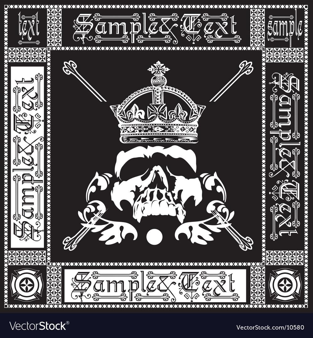 Ornate black and white skull vector image