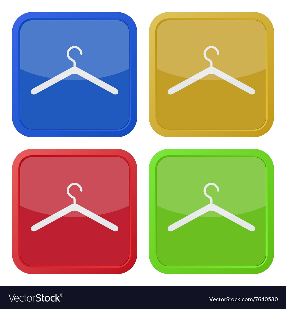 Set of four square icons with clothes hanger vector image