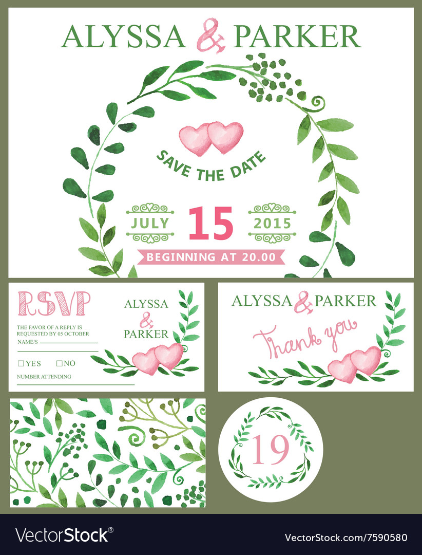 Wedding invitation cardWatercolor green branches