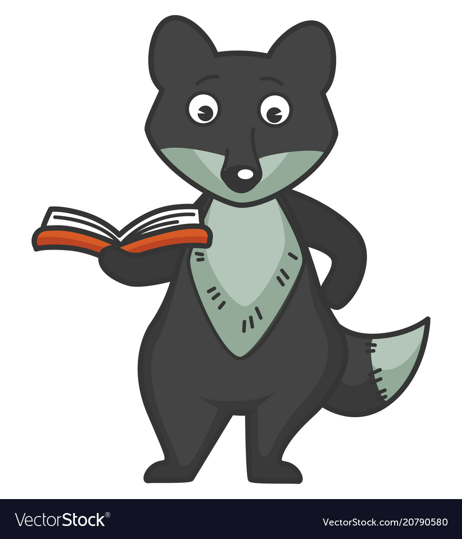 Wolf stands with small book in red hardcover