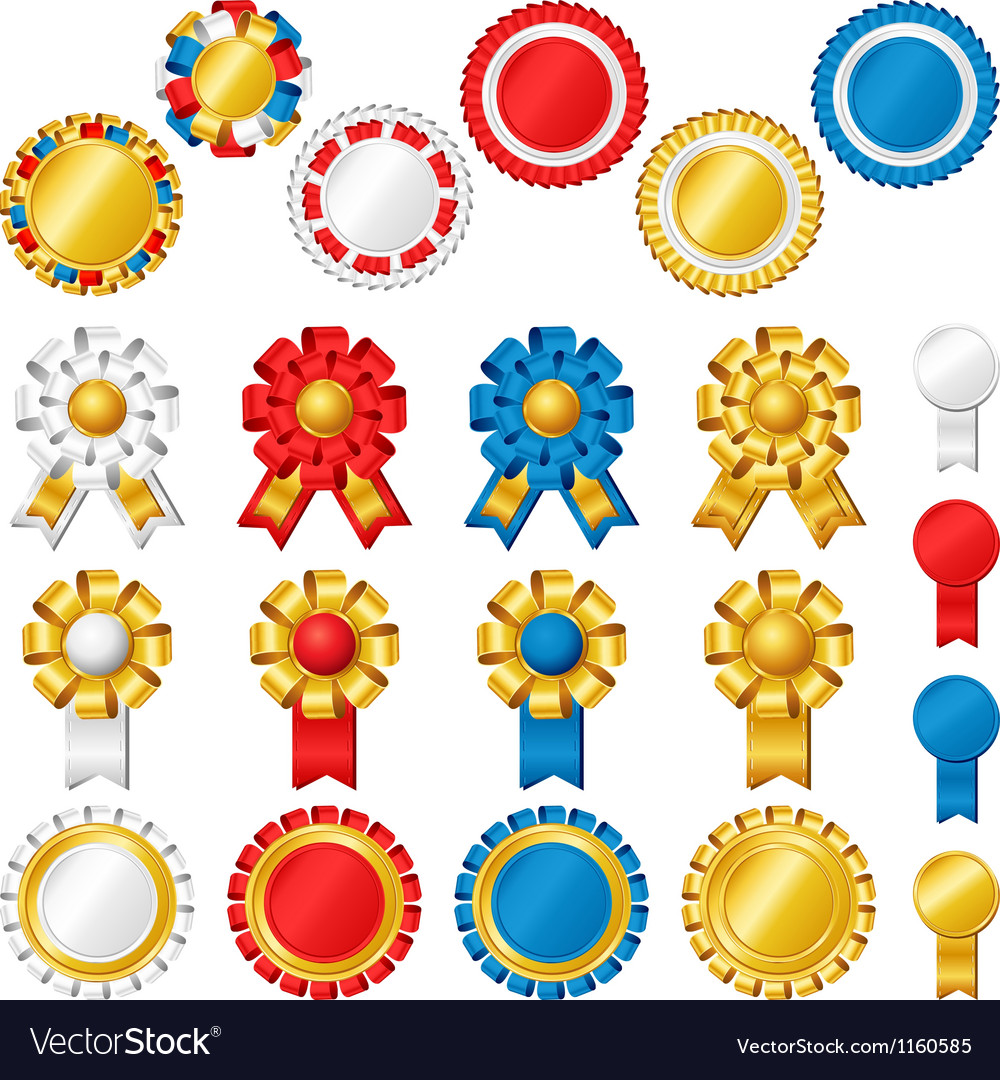 Blank award ribbon rosettes Royalty Free Vector Image