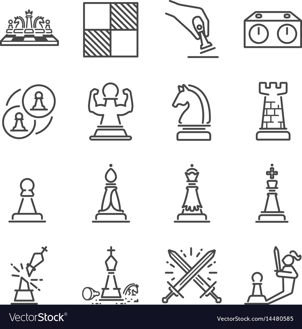 Chess line icon set