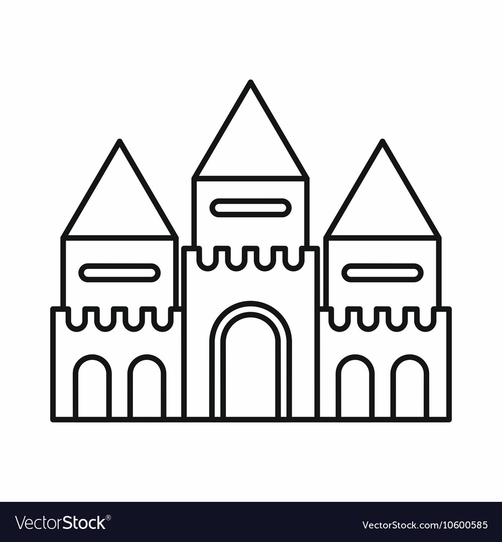 Fairy Tale Castle Icon Outline Style Vector Image