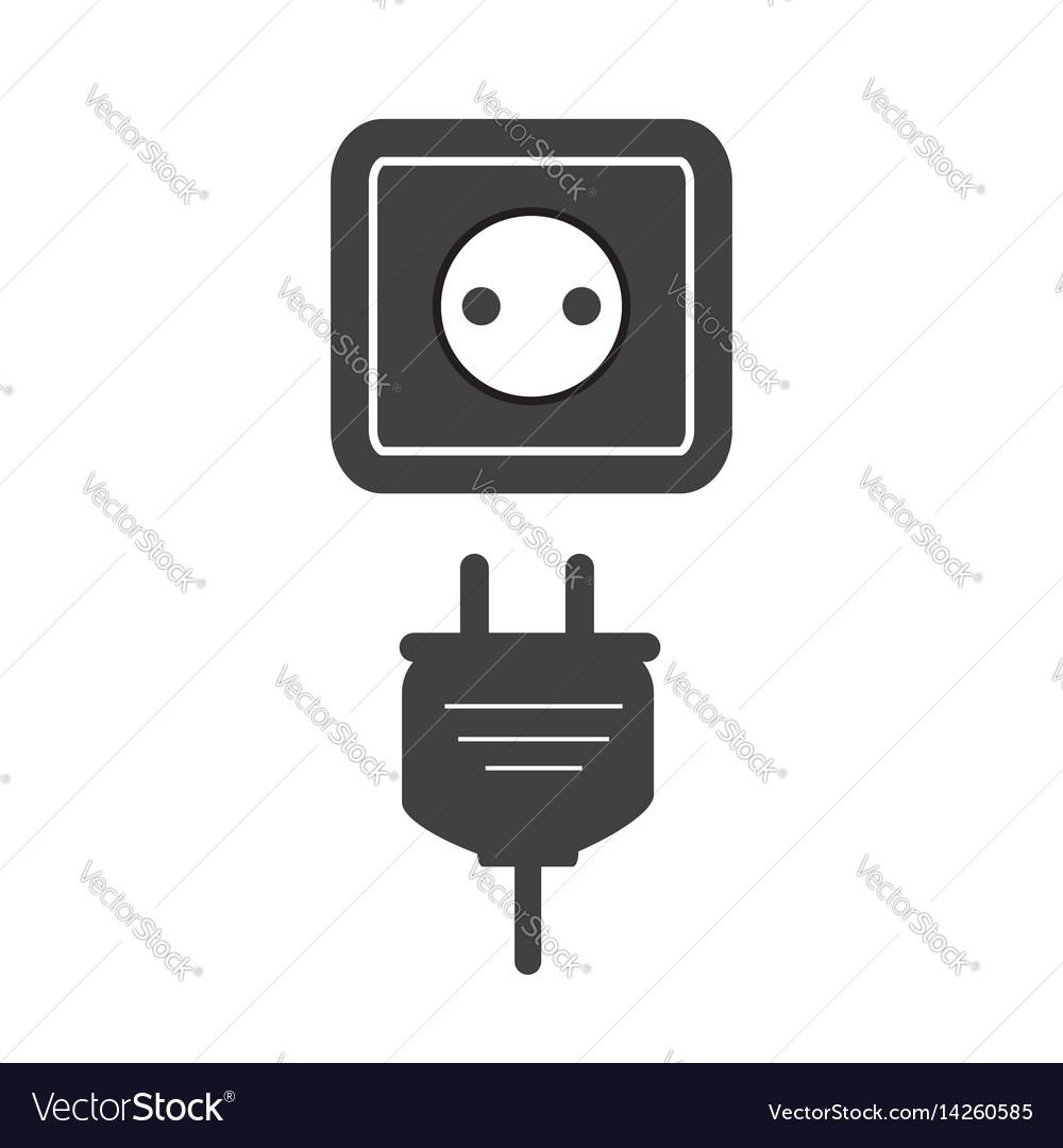 Plug socket icon flat plug socket sign