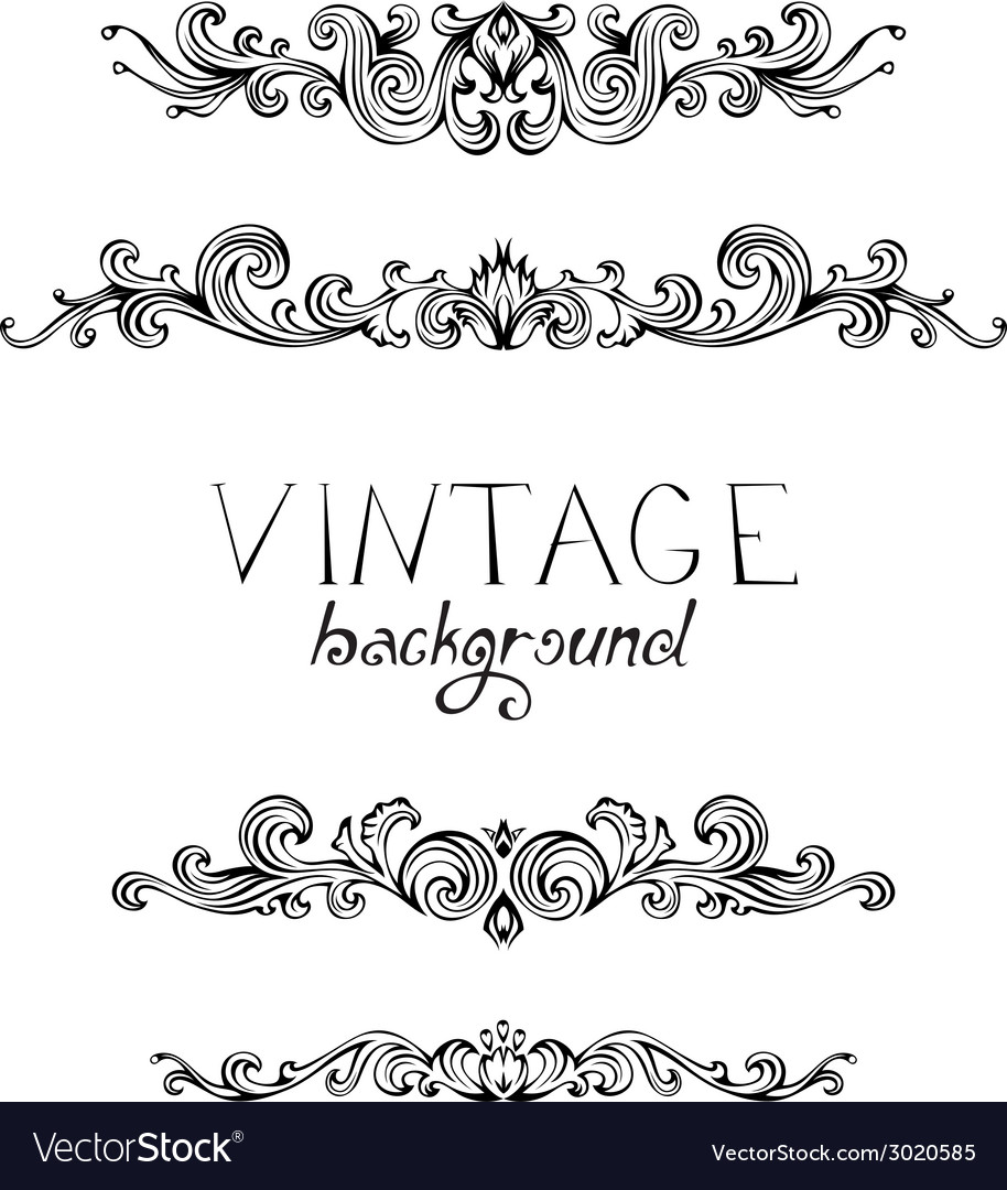 Set of vintage ornate elements for page decoration