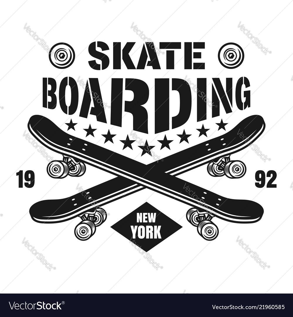 Skateboarding emblem with two skate decks