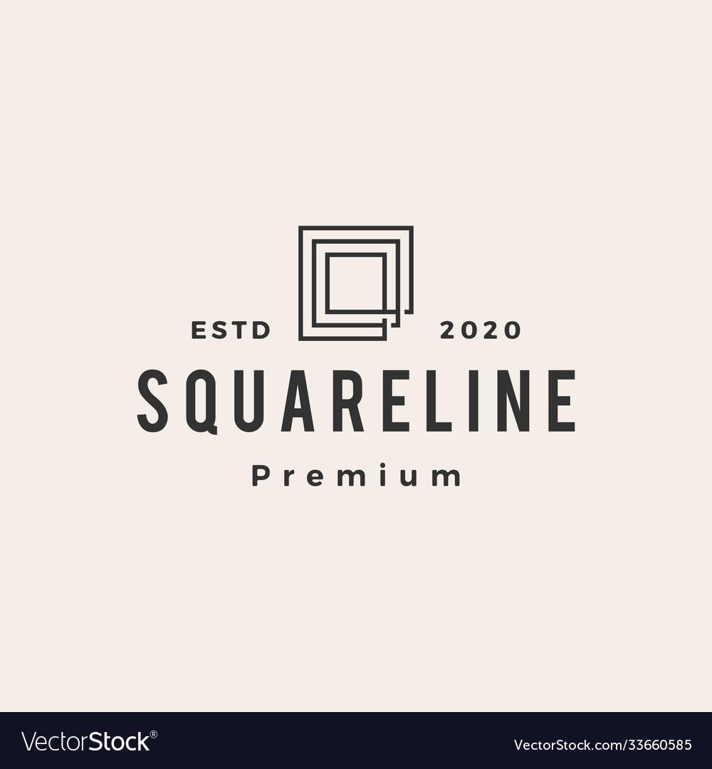 Square line outline hipster vintage logo icon