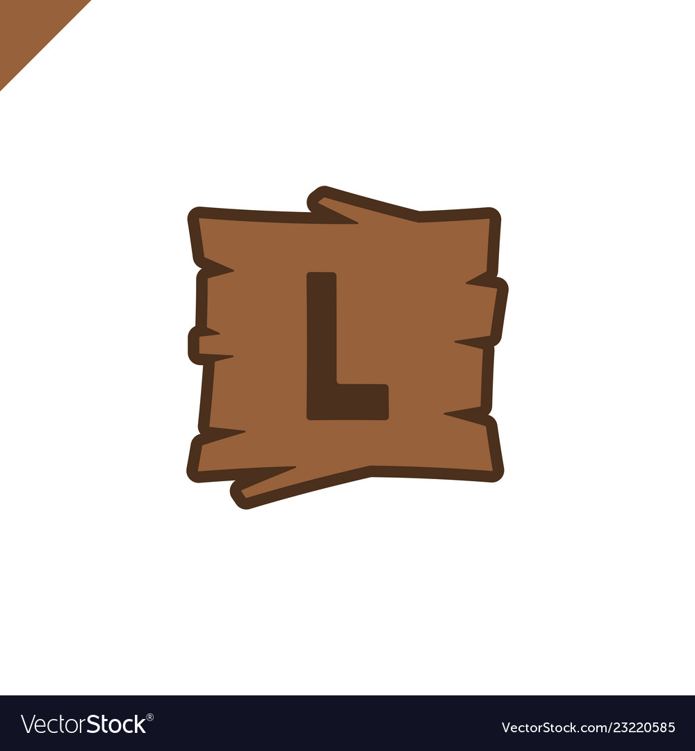 Wooden alphabet or font blocks with letter l in