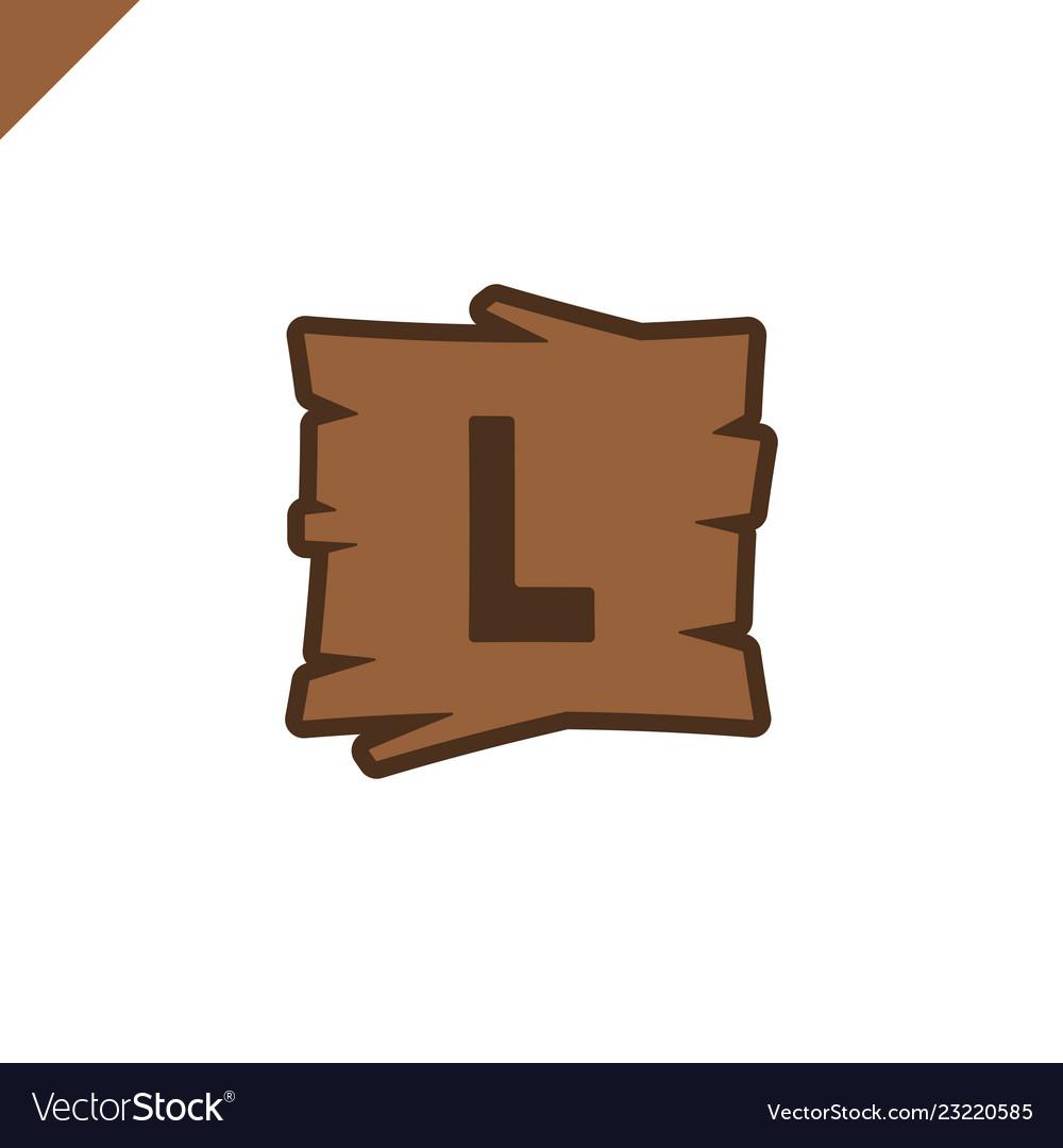 Wooden alphabet or font blocks with letter l