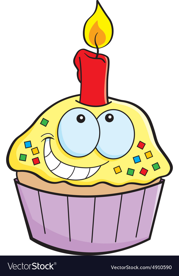 cartoon cupcake with a candle royalty free vector image
