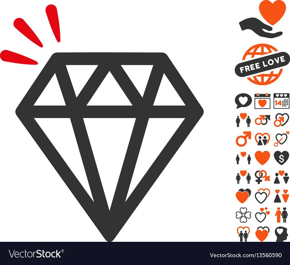 Diamond crystal icon with love bonus vector image