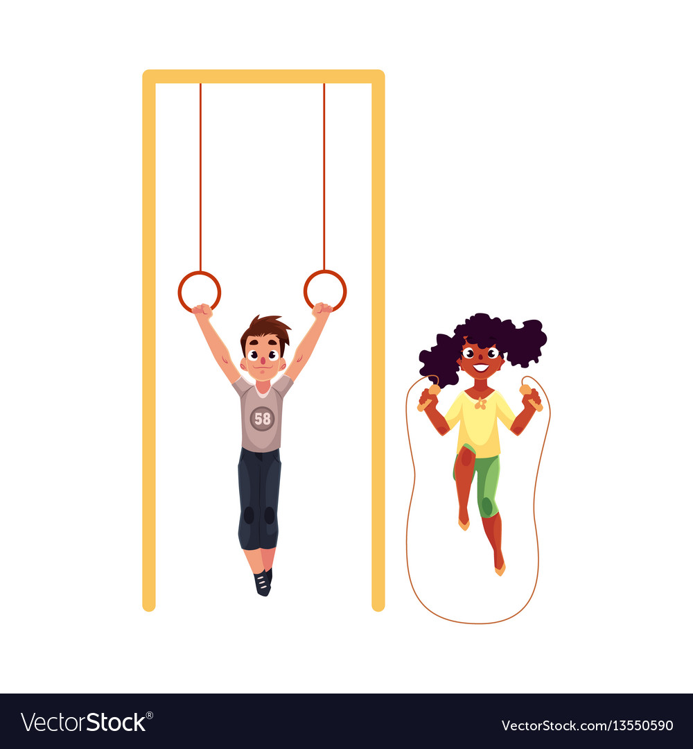 Friends playing with gymnastic rings and jumping