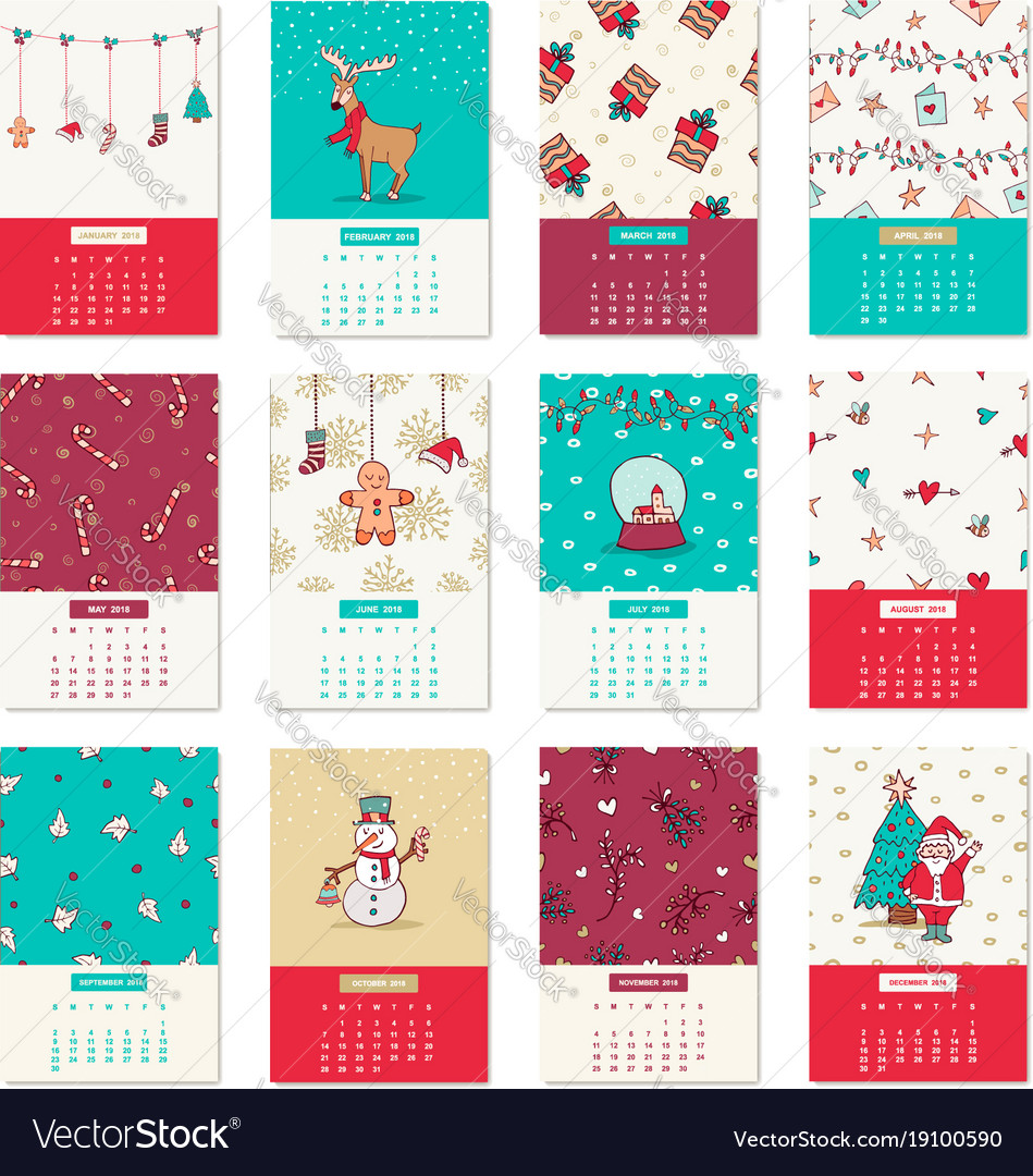 Happy new year 2018 cute xmas calendar template Vector Image