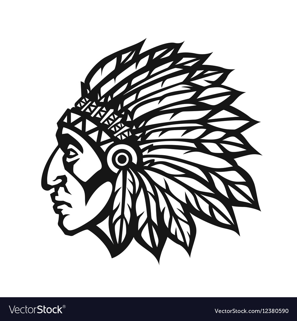 native american indian chief head profile mascot vector image rh vectorstock com Indian Chief Clip Art Indian Chief Head Logo
