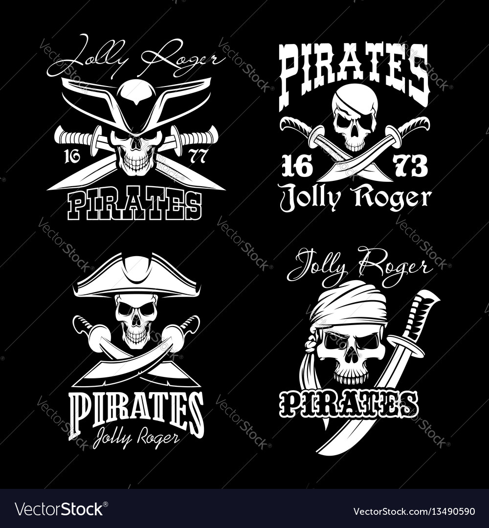 Pirate skull with hat and sward symbol set vector image